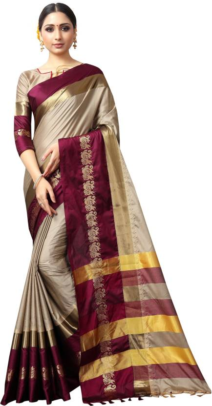 Designer Beige And Purple Jacquard Design Cotton Silk Saree