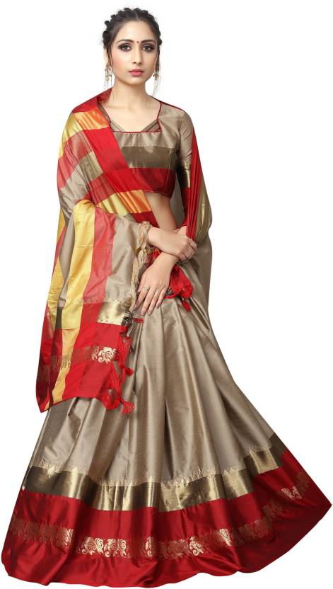 Stylish Beige And Red Jacquard Design Cotton Silk Saree