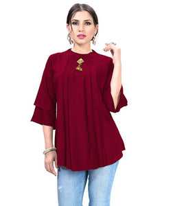 Trendy Red  Designer Western Rayon Top