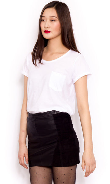 Scandi-cool suede and leather black mini skirt