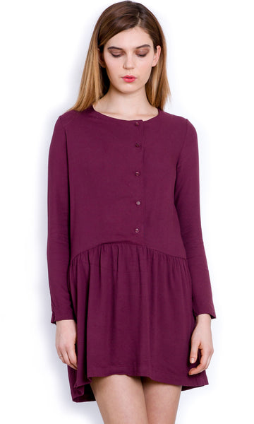 Effortless burgundy shirt dress