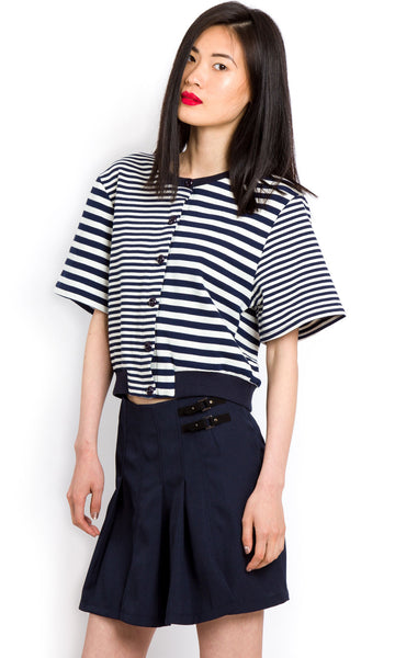 Navy buckled pleated skirt