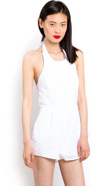 White broderie anglaise jumpsuit