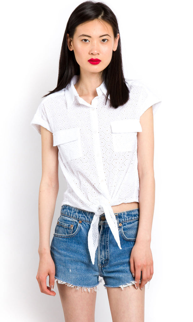Front-tie broderie anglaise shirt