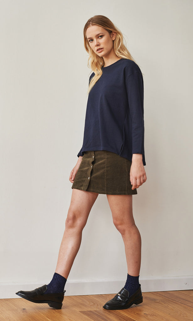 Neoprep cotton dropped shoulder navy top