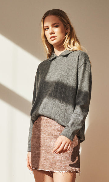 Georgia point collar knit grey