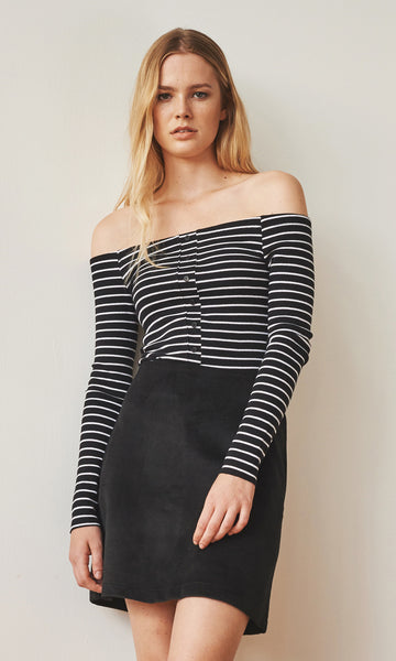 Bardot off-shoulder black/white stripes buttoned top