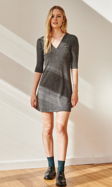 Gemini ribbed dress grey