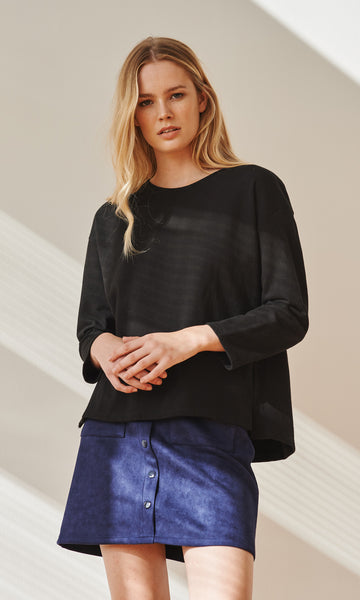 Neoprep cotton dropped shoulder black top