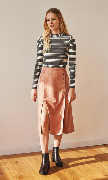 September suede buttoned pink midi skirt