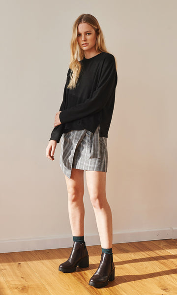 Alexa crew neck oversize knit black