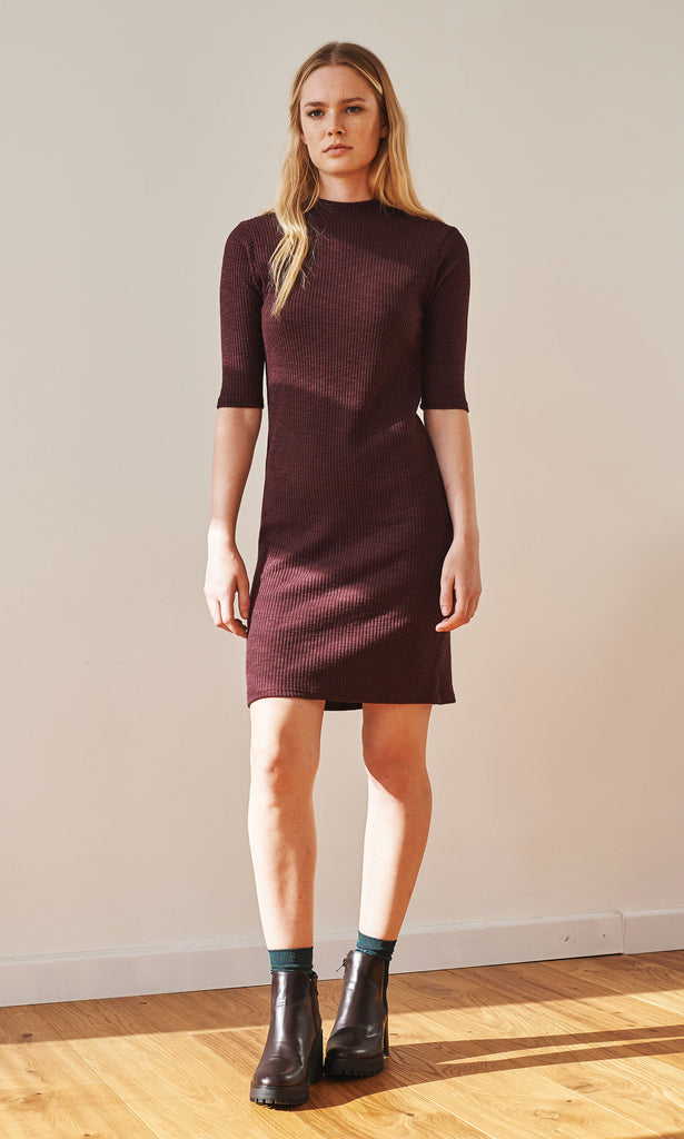 Ally high neck ribbed burgundy dress (textured)