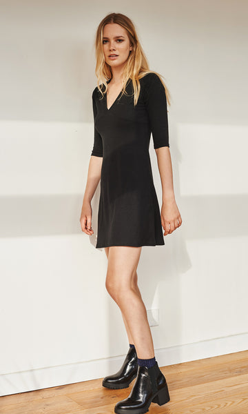 Gemini ribbed dress black