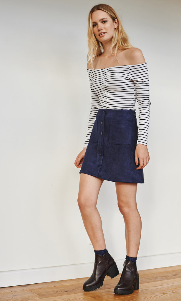 Douzieme buttoned skirt with pockets navy