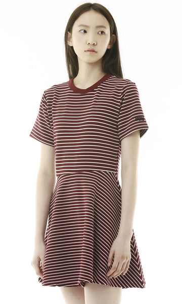 Burgundy striped skater dress