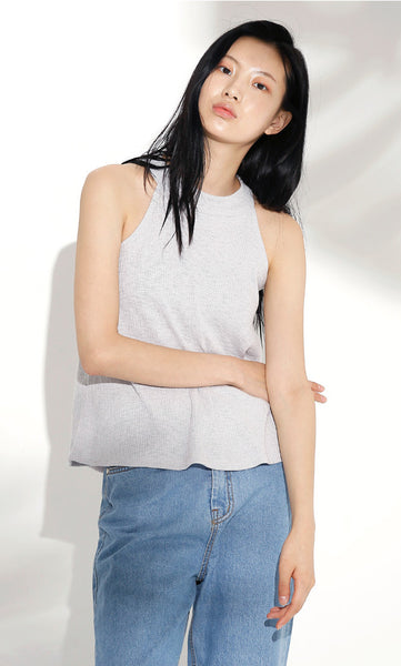 Sleeveless ribbed grey top