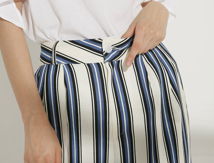 Vertical stripe ivory trousers