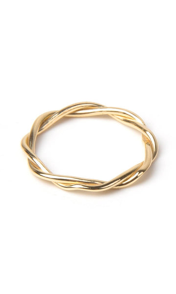 Double twisted shape band ring gold