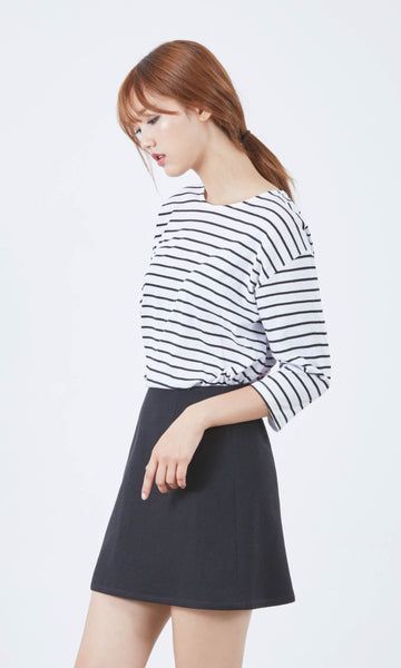 No Matter dropped shoulder striped top