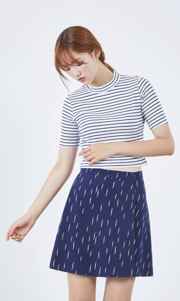 Neo-nautical high neck striped top (cropped)