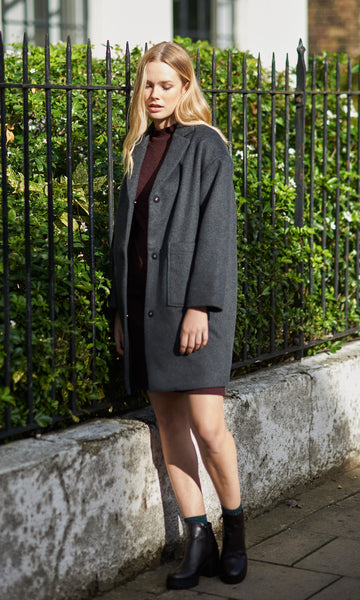 Seizieme dropped shoulder wool coat anthracite
