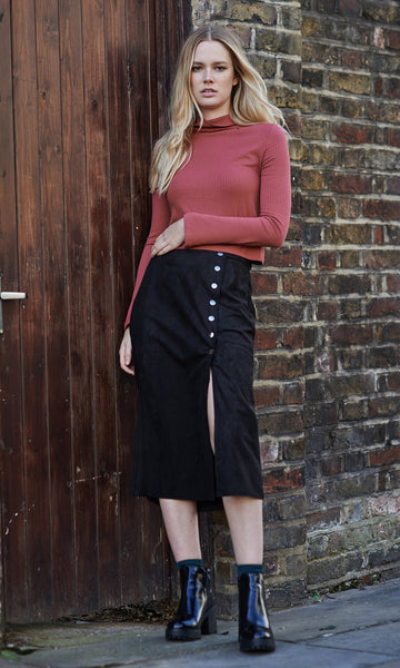 September suede buttoned black midi skirt
