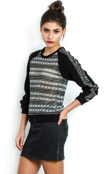 Knitted daisy lace grey jumper