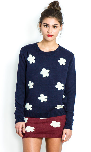 Daisy navy knitted jumper
