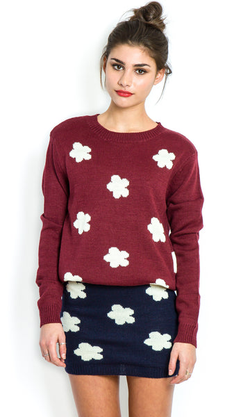 Daisy burgundy knitted jumper