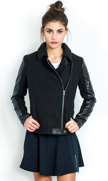 Black biker coat with leather accents