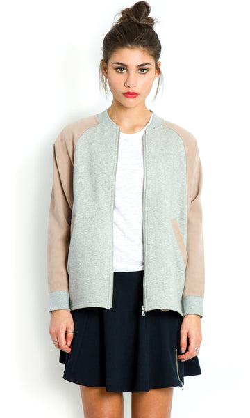 Minimalist oversized grey varsity jacket