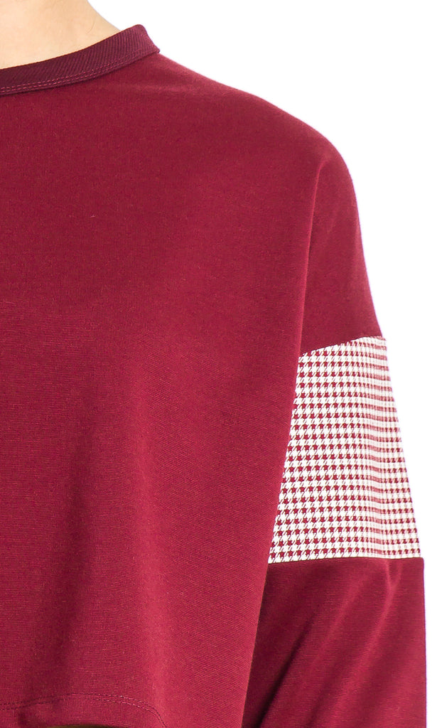 Burgundy cropped top with gingham sleeves