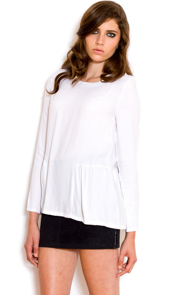 Clean white long-sleeve blouse