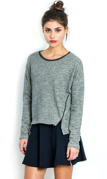 Urban grey sweater with side zips
