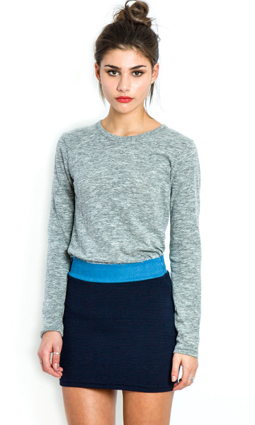 Textured skirt with chambray waistband