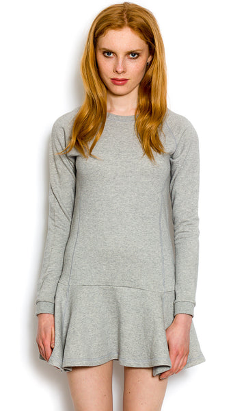 Light grey dropped waist sweater dress