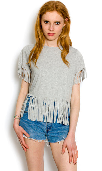 Fringed light grey t-shirt