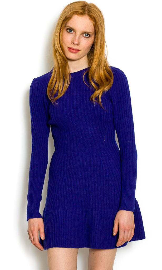 Electric blue textured wool dress