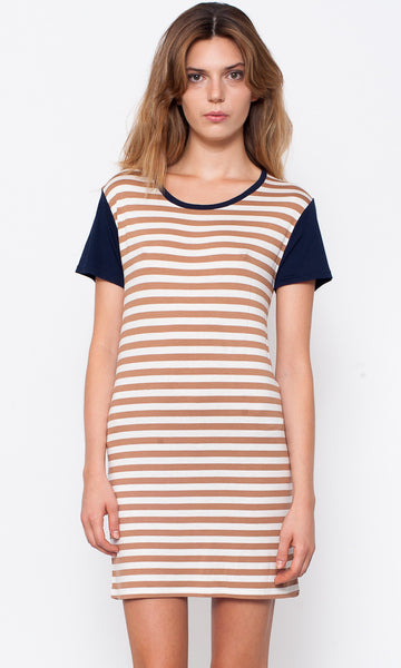 Striped t-shirt dress with contrasting sleeves