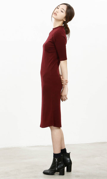 Low key burgundy ribbed dress