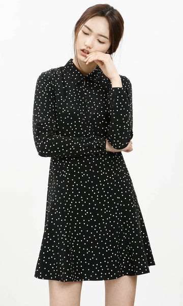Ihwa dotted collared dress