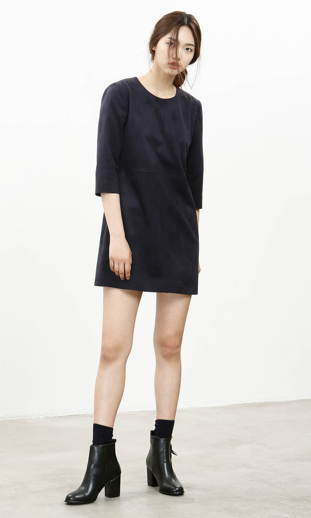Sleek suedette navy shift dress