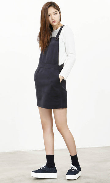 Hongdae suedette navy pinafore dress
