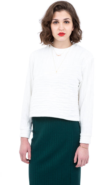 White wave textured knit