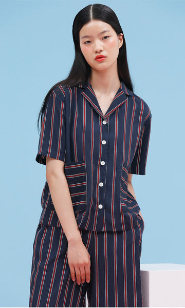 Androgynous striped navy shirt