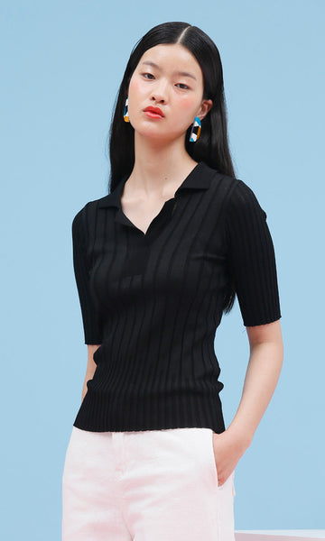 Open neck black ribbed knit