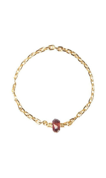 Delicate gold-plated chain ring with garnet
