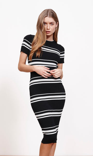 Stripe ribbed sweater midi dress