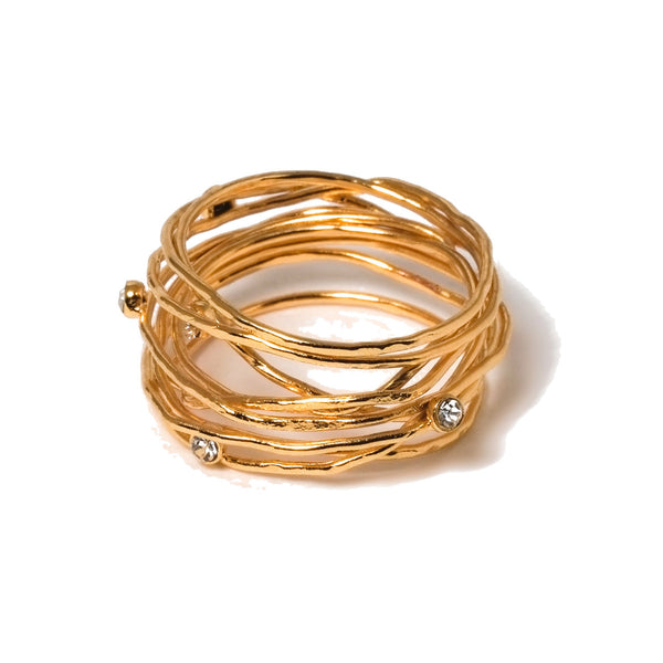 Layered crystal gold ring