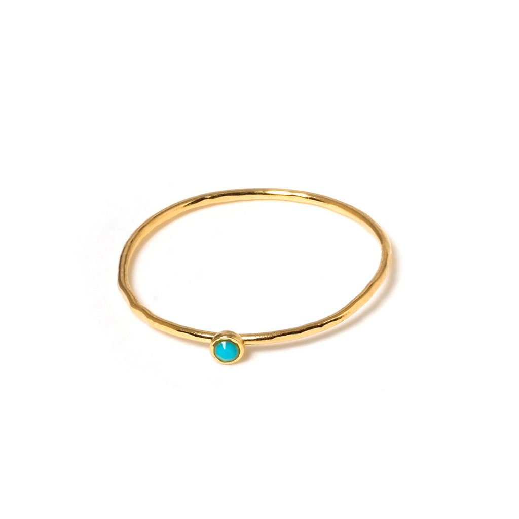 Minimalist ring with turquoise crystal